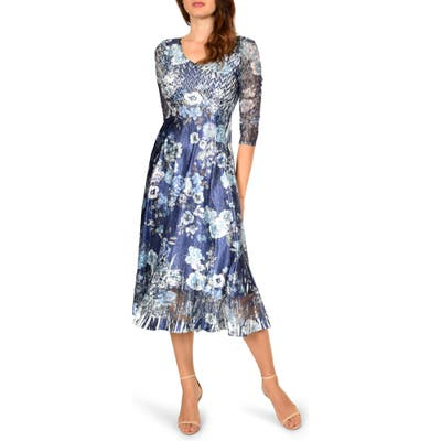 Petite Komarov Charmeuse A-Line Dress, Blue