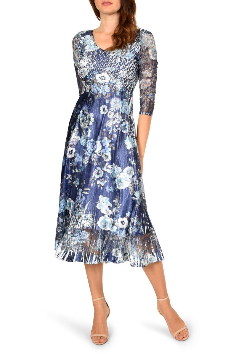 KOMAROV Charmeuse A-Line Dress, Main, color, DUSK FIELDS