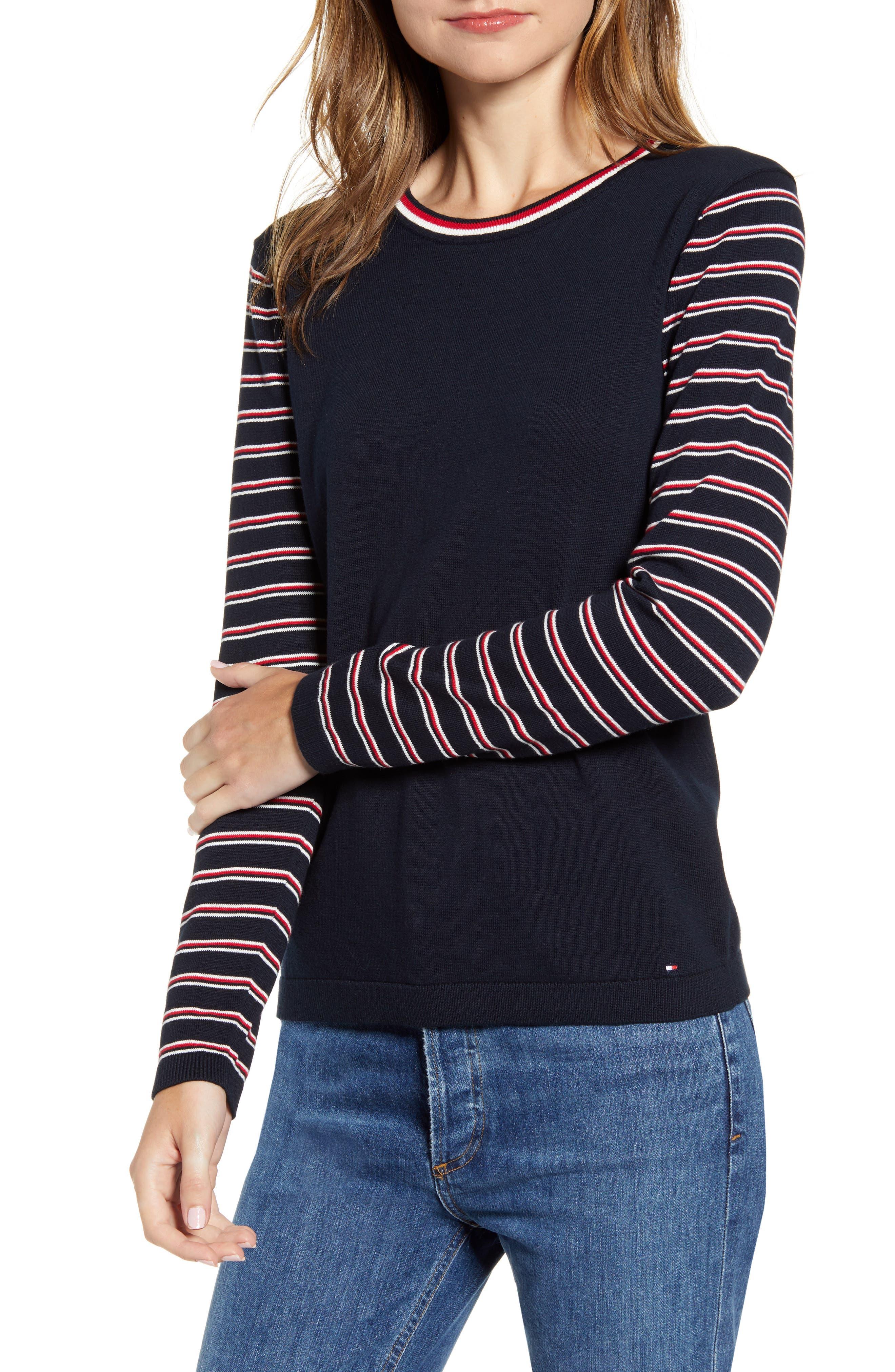 Tommy Hilfiger Sweaters Stripe Sleeve Crewneck Sweater