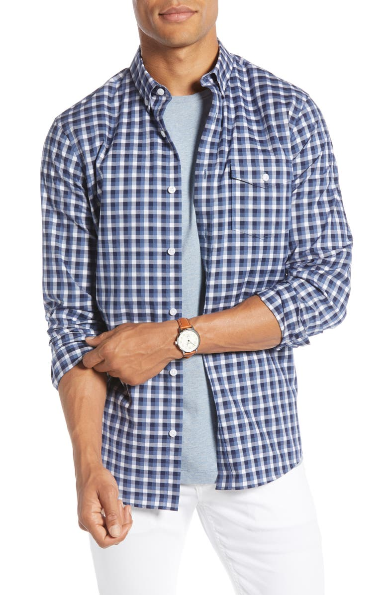 1901 Trim Fit Check Button-Down Shirt, Main, color, 420