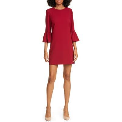 Alice + Olivia Coley Ruffle Sleeve A-Line Dress, Burgundy