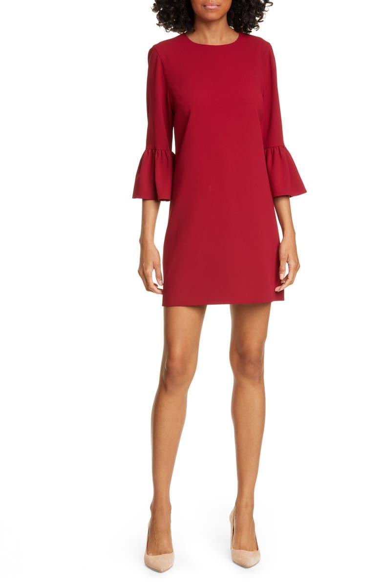 ALICE + OLIVIA Coley Ruffle Sleeve A-Line Dress, Main, color, BORDEAUX