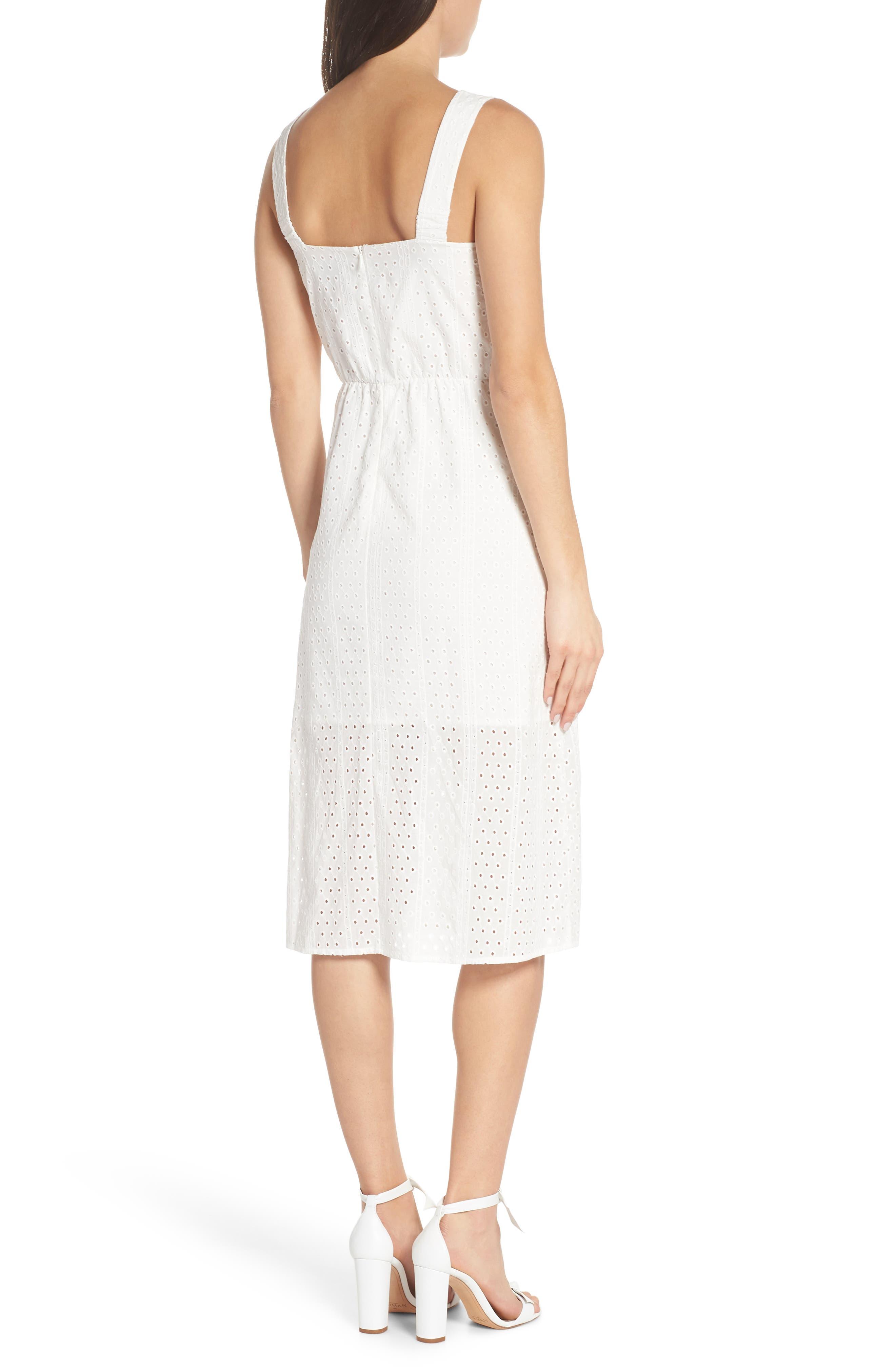 ,                             Look My Way Eyelet Midi Dress,                             Alternate thumbnail 2, color,                             WHITE