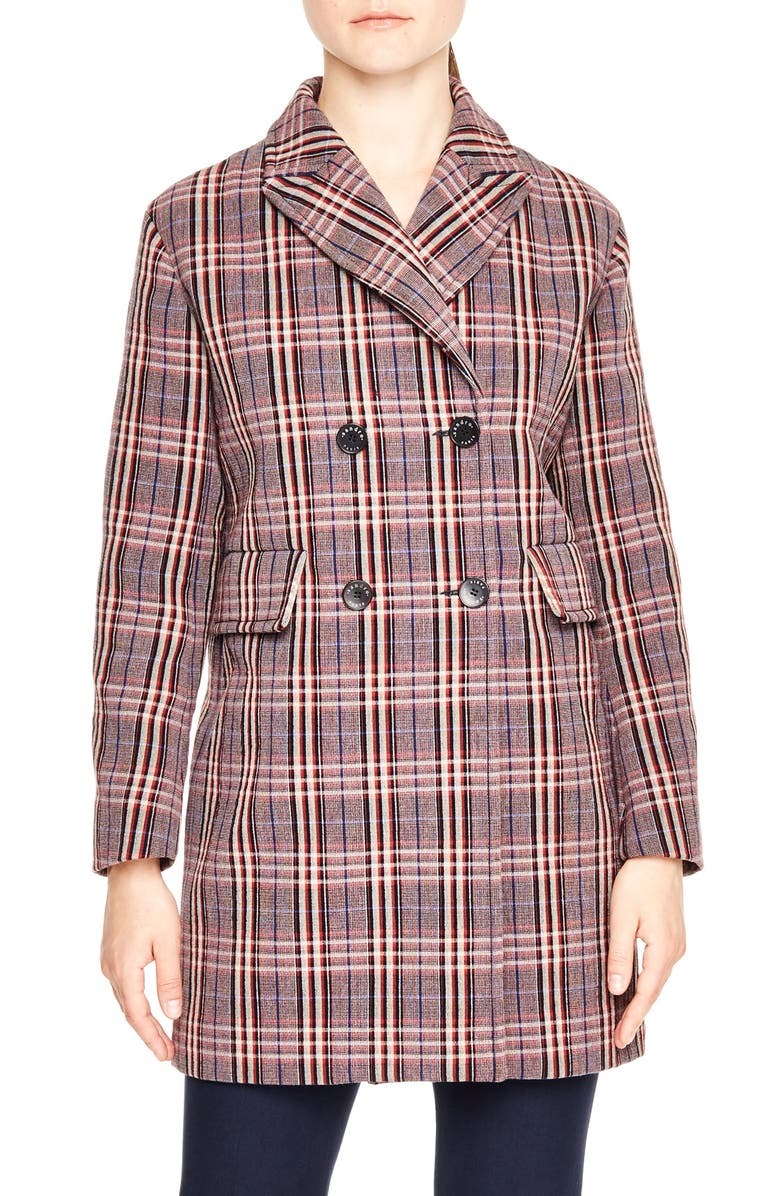 SANDRO Double Breasted Plaid Coat, Main, color, 500