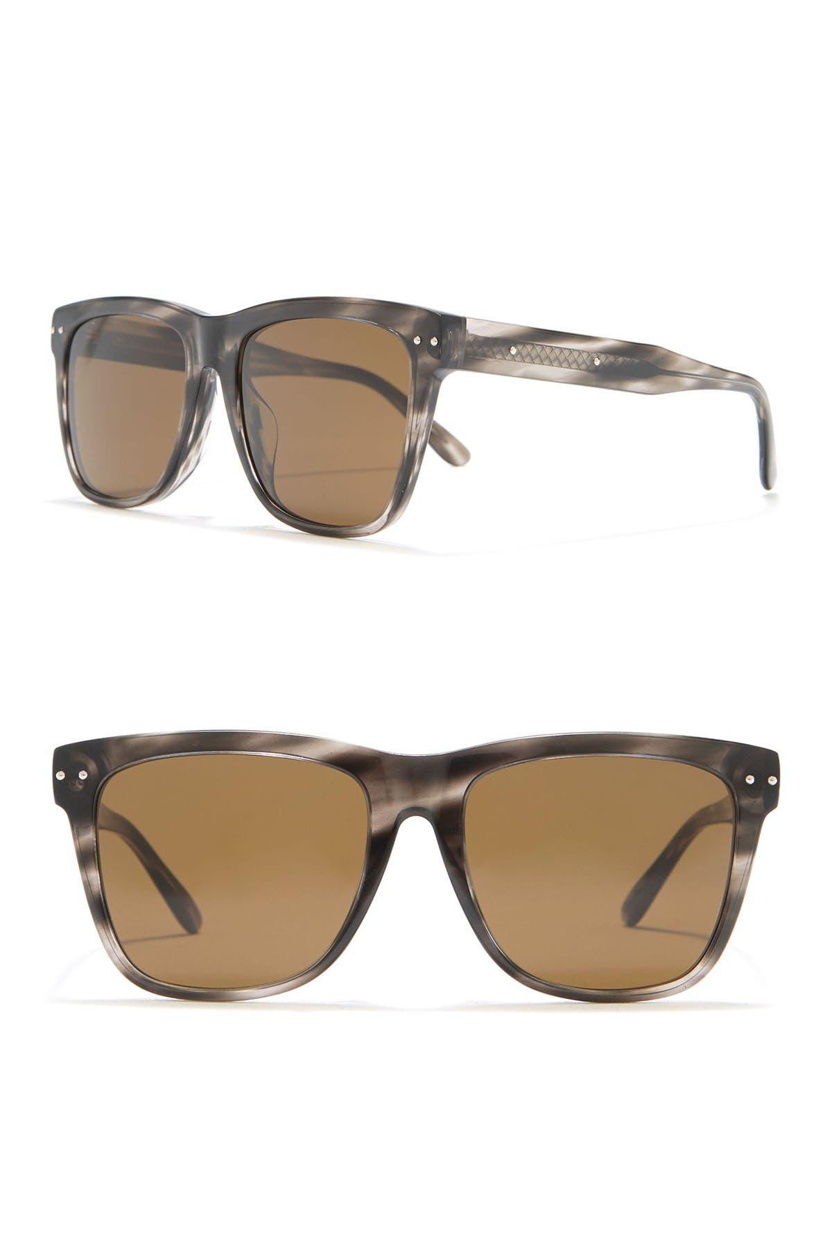 Image of Bottega Veneta Core Rectangle 55mm Sunglasses