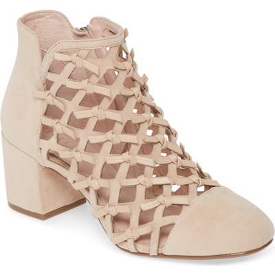 Cecelia New York Laser Cut Knotted Bootie, Beige
