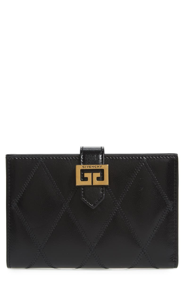 GIVENCHY Medium GV3 Diamond Quilted Leather Wallet, Main, color, BLACK