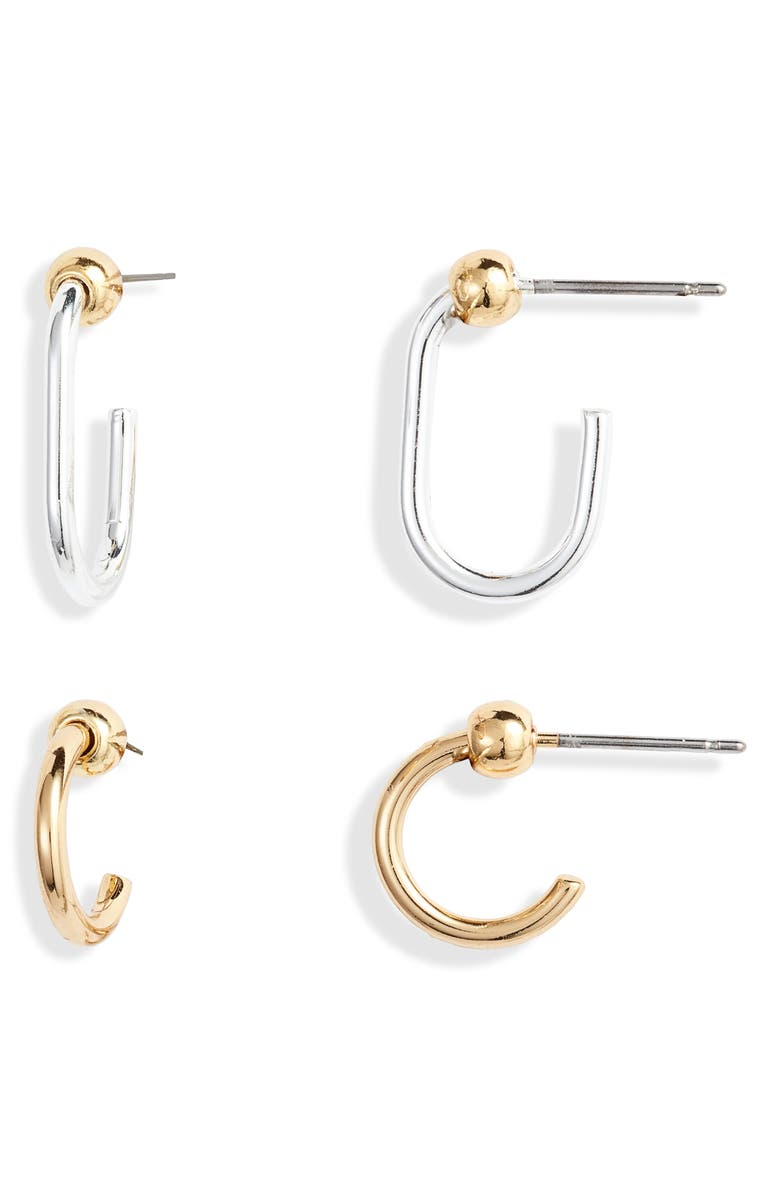 JENNY BIRD 2-Pack Icon Hoop Earrings, Main, color, GOLD/ SILVER