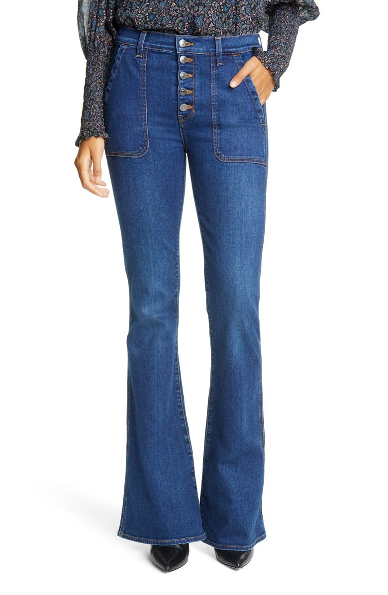 VERONICA BEARD Beverly High Waist Skinny Flare Jeans, Main, color, BRIGHT BLUE