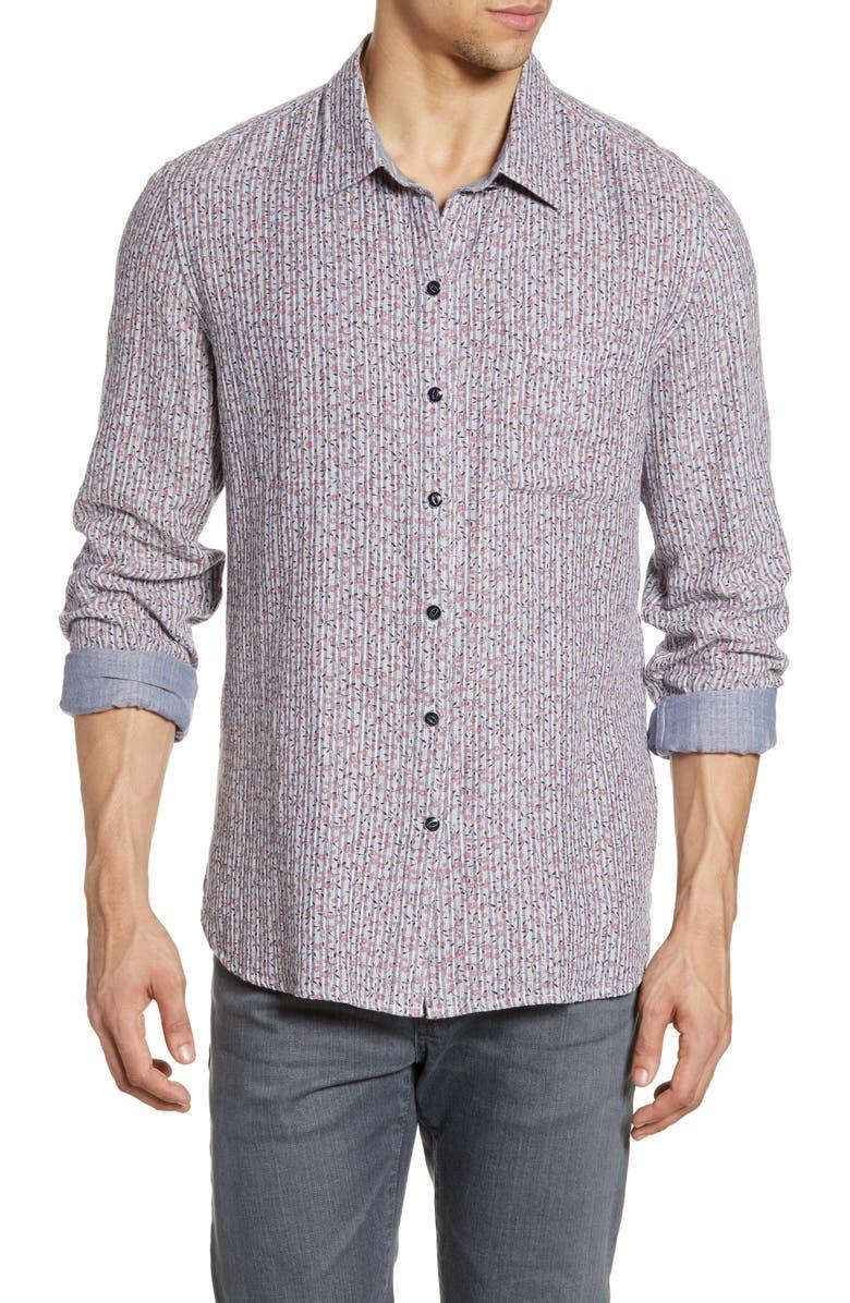 JOHN VARVATOS STAR USA Neil Slim Fit Ditsy Stripe Reversible Button-Up Shirt, Main, color, ANTIQUE ROSE