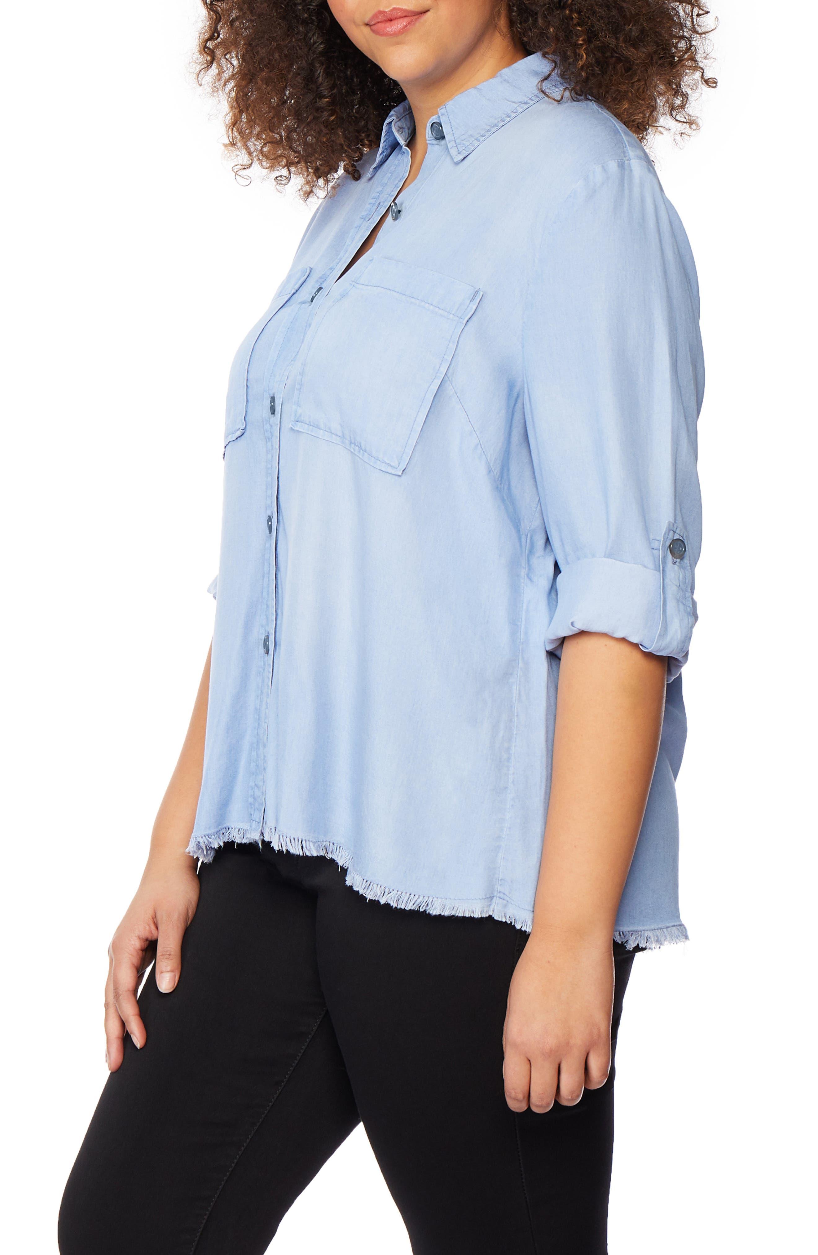 ,                             Frayed Hem Button Front Shirt,                             Alternate thumbnail 3, color,                             BAYSIDE