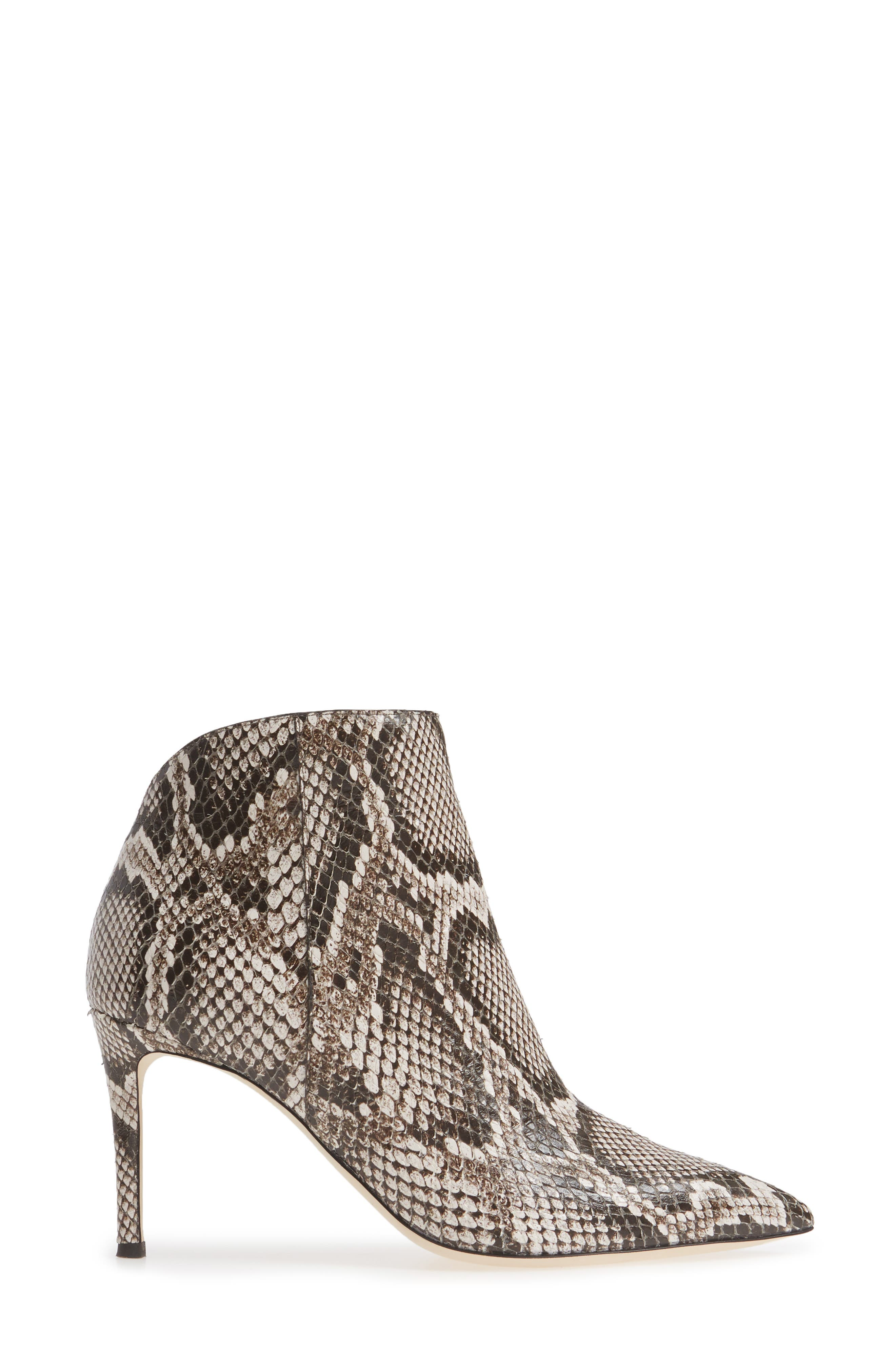 ,                             Snake Embossed Pointy Toe Bootie,                             Alternate thumbnail 3, color,                             250