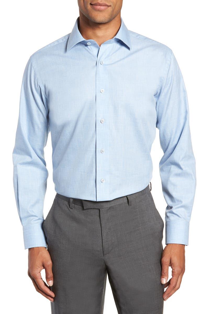 LORENZO UOMO Trim Fit Solid Dress Shirt, Main, color, BLUE