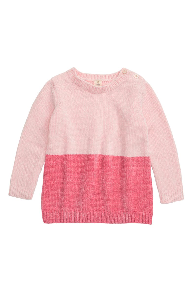 TUCKER + TATE Chenille Colorblock Sweater, Main, color, PINK ENGLISH- PINK