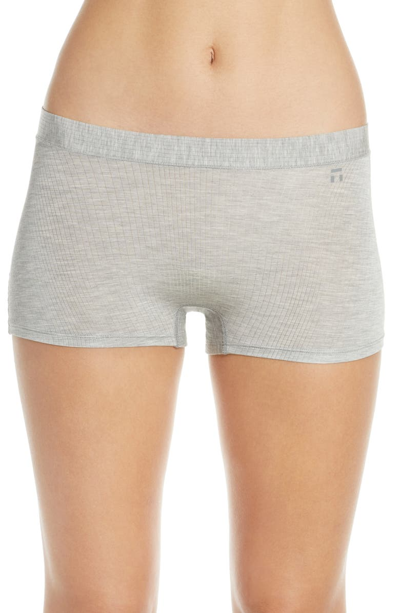 TOMMY JOHN Second Skin Luxe Rib Boyshorts, Main, color, HEATHER GREY