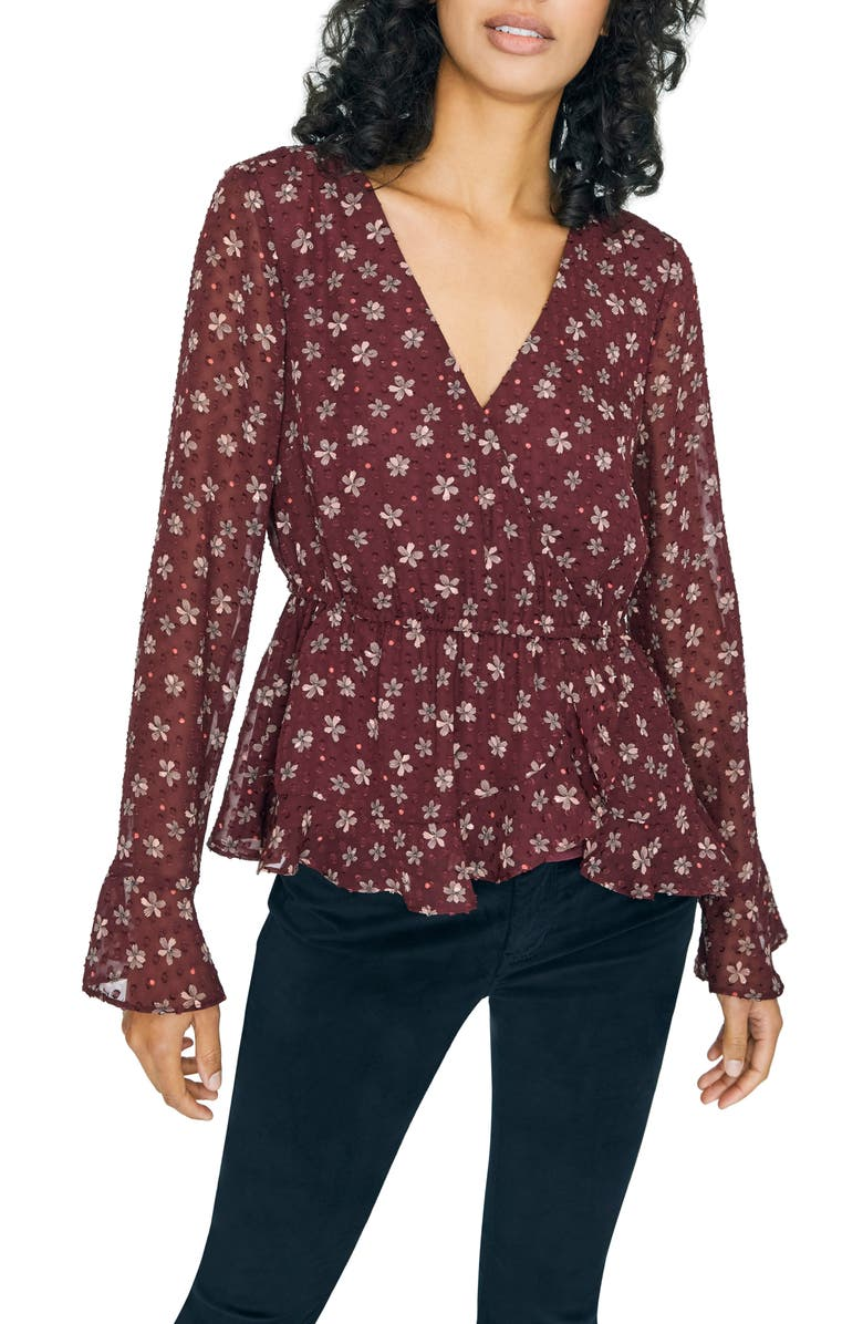 SANCTUARY Carried Away Floral Clip Dot Peplum Blouse, Main, color, IN BLOOM