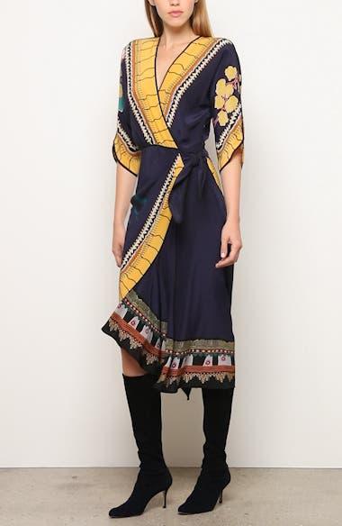 Print Faux Wrap Silk Dress, video thumbnail