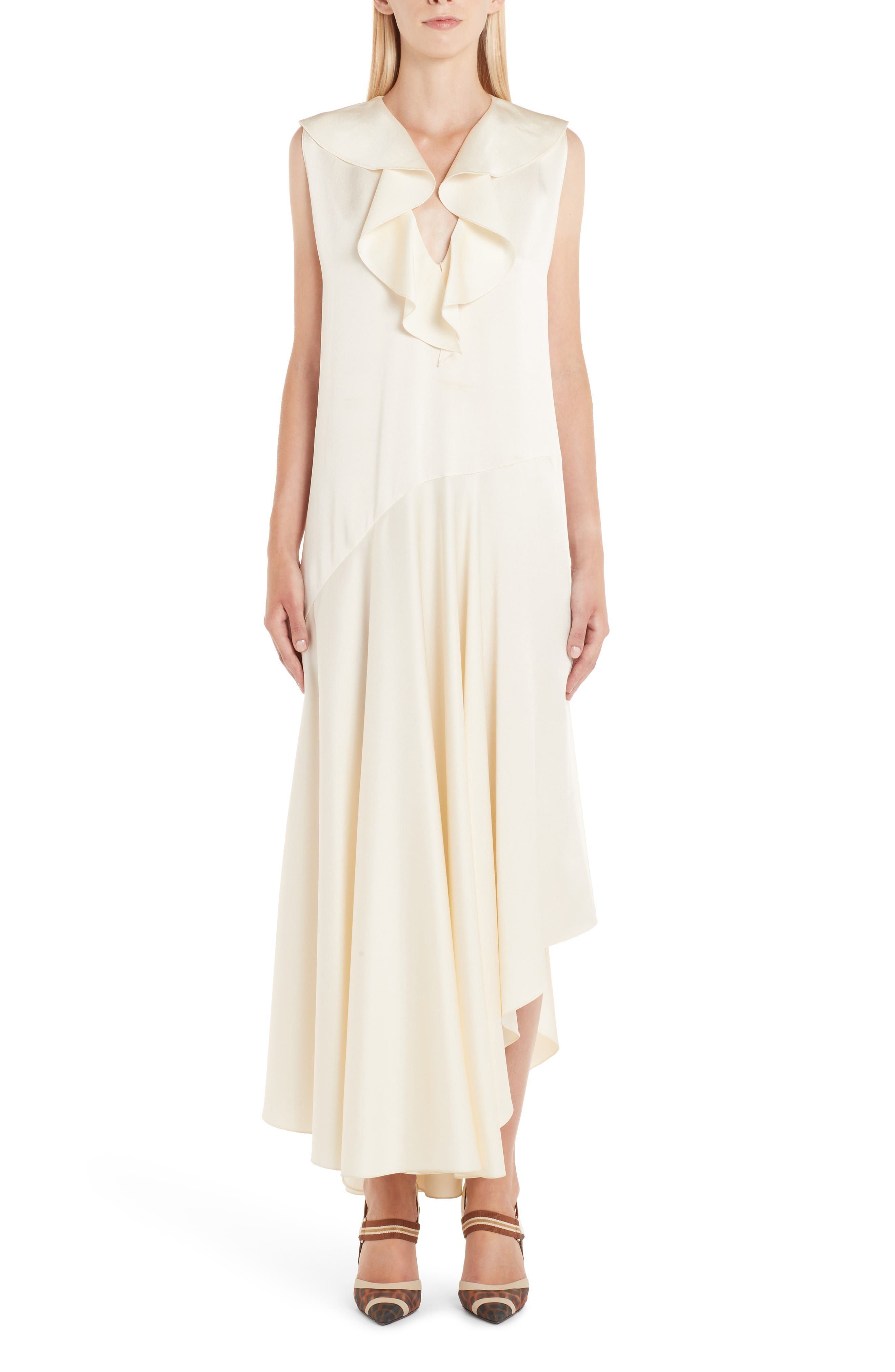 Fendi Ruffle Satin Dress, US / 40 IT - White