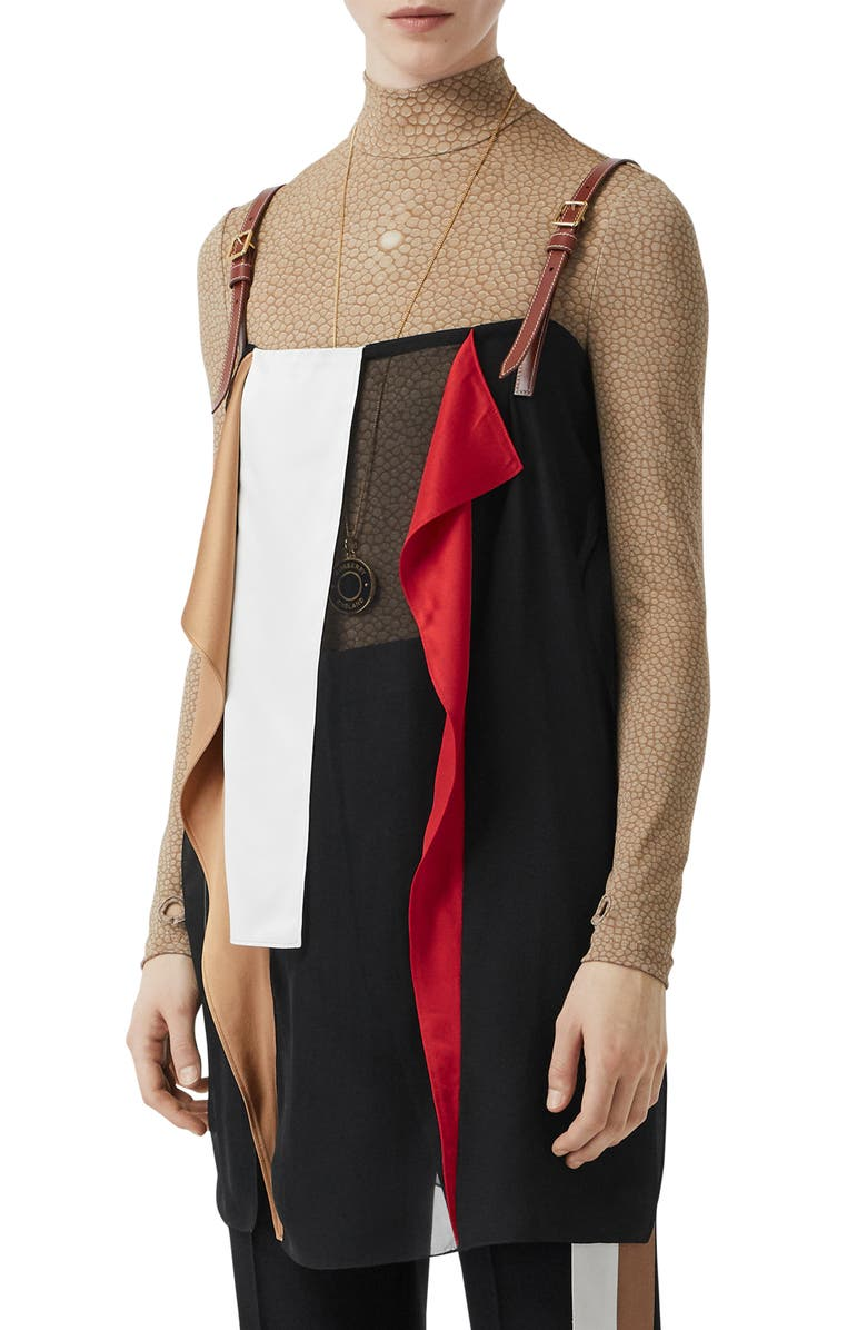 BURBERRY Long Layering Top, Main, color, 001