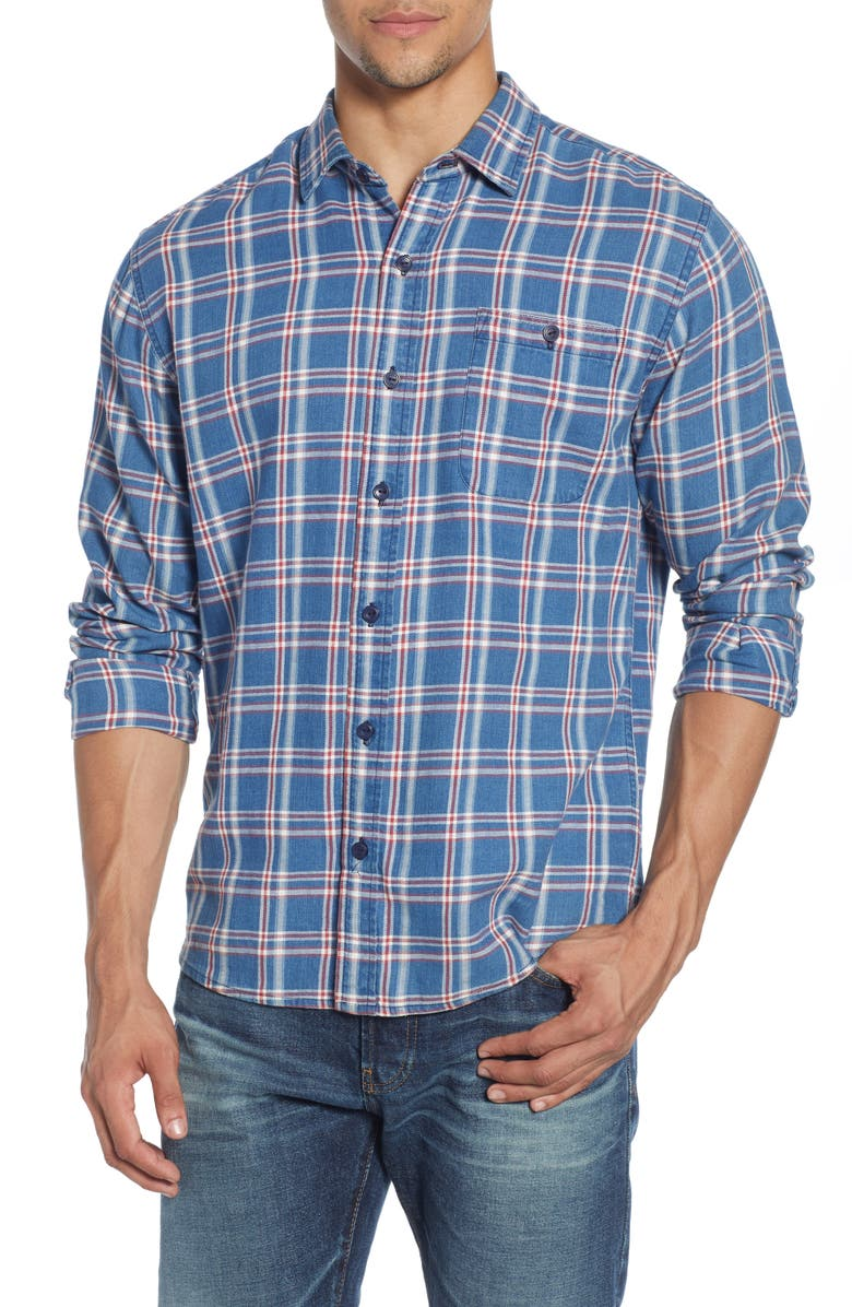 THE NORMAL BRAND Frankfort Regular Fit Plaid Flannel Button-Up Shirt, Main, color, BLUE