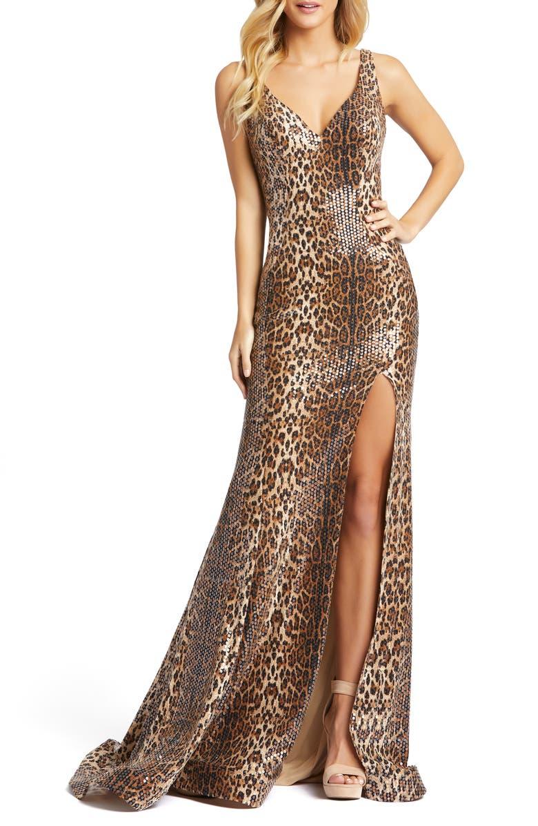 MAC DUGGAL Leopard Print Sequin Trumpet Gown, Main, color, LEOPARD
