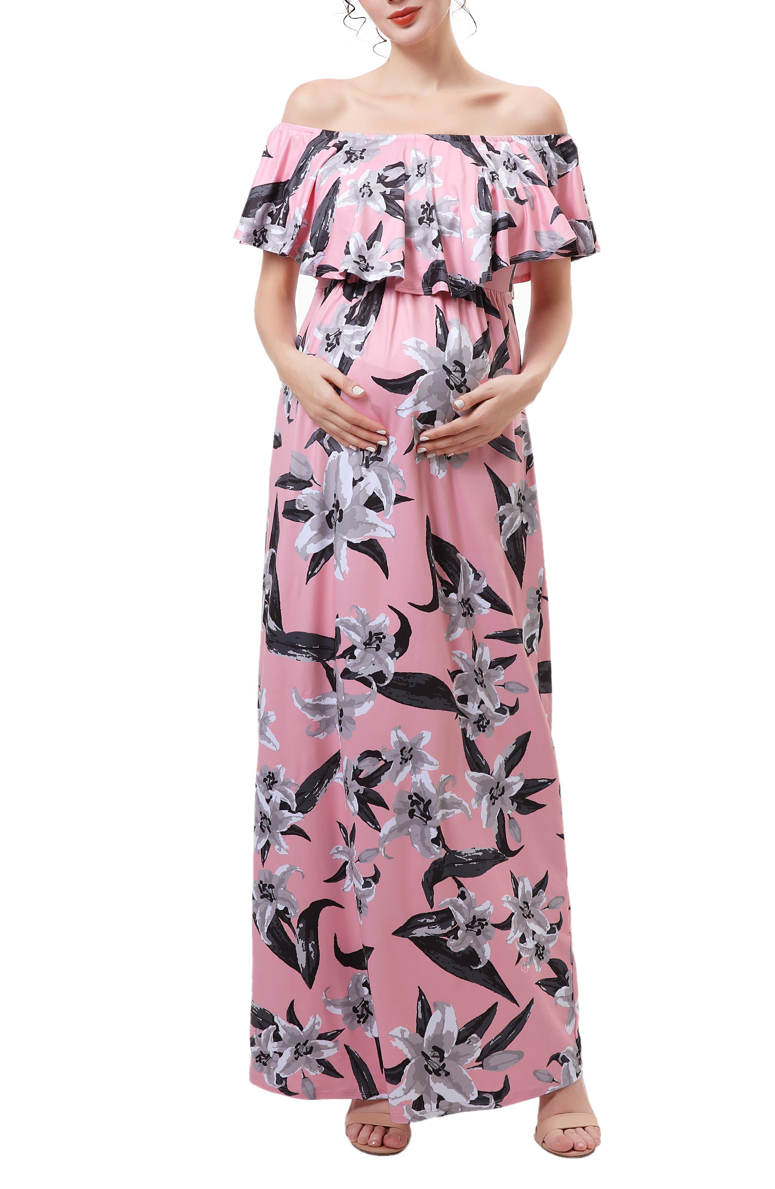 Clara Off The Shoulder Maternity/nursing Maxi Dress