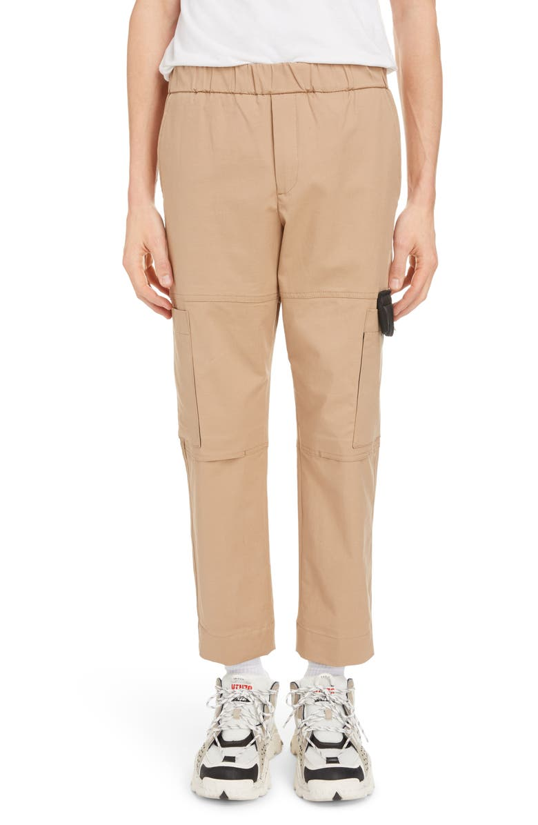 KENZO Tapered Crop Cargo Pants, Main, color, PALE CAMEL