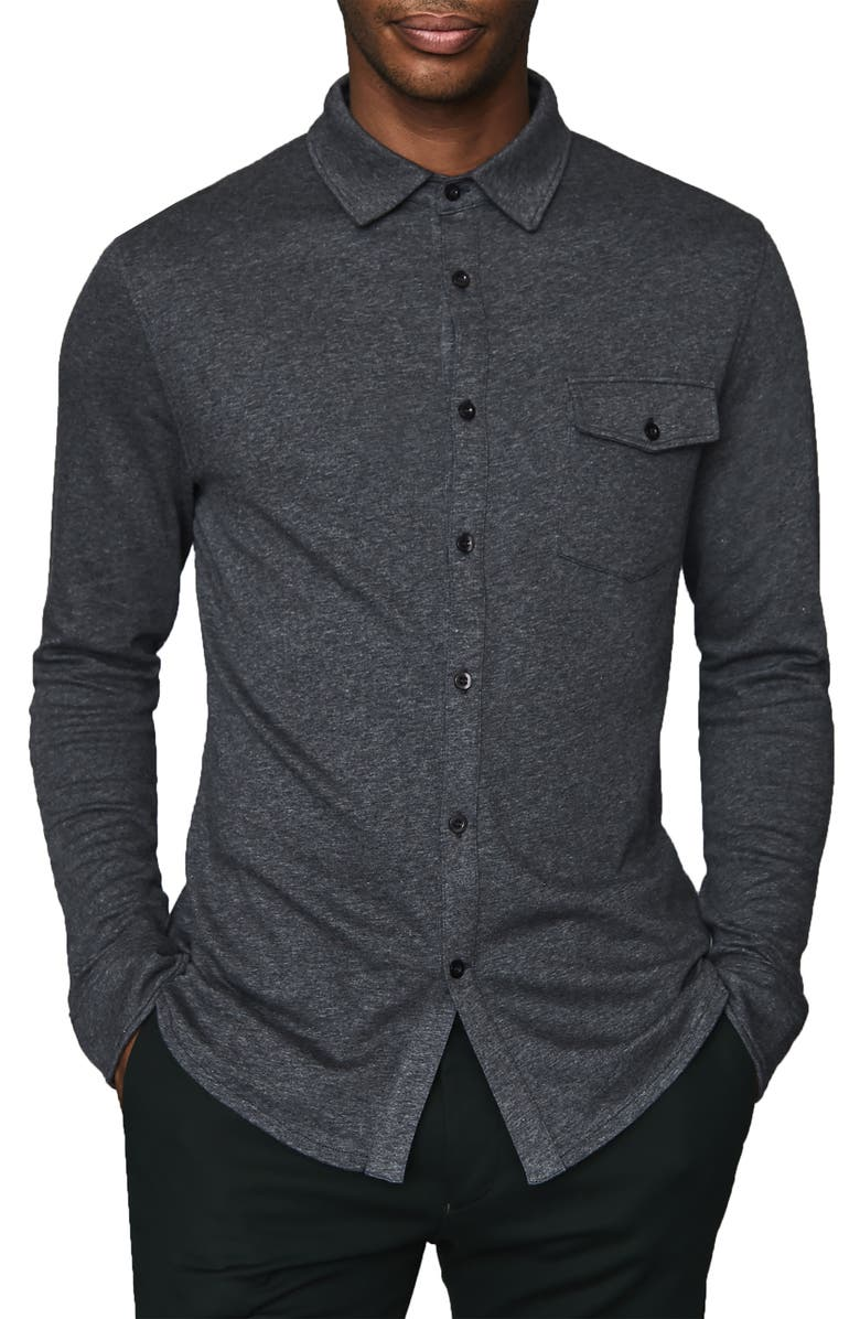 REISS Lewis Regular Fit Long Sleeve Jersey Button-Up Shirt, Main, color, CHARCOAL
