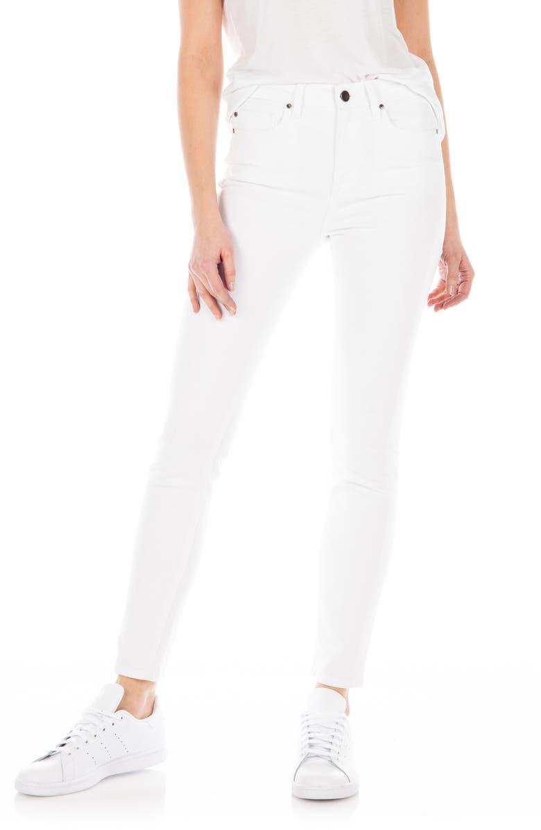 FIDELITY DENIM Gwen High Waist Skinny Jeans, Main, color, WHITEOUT
