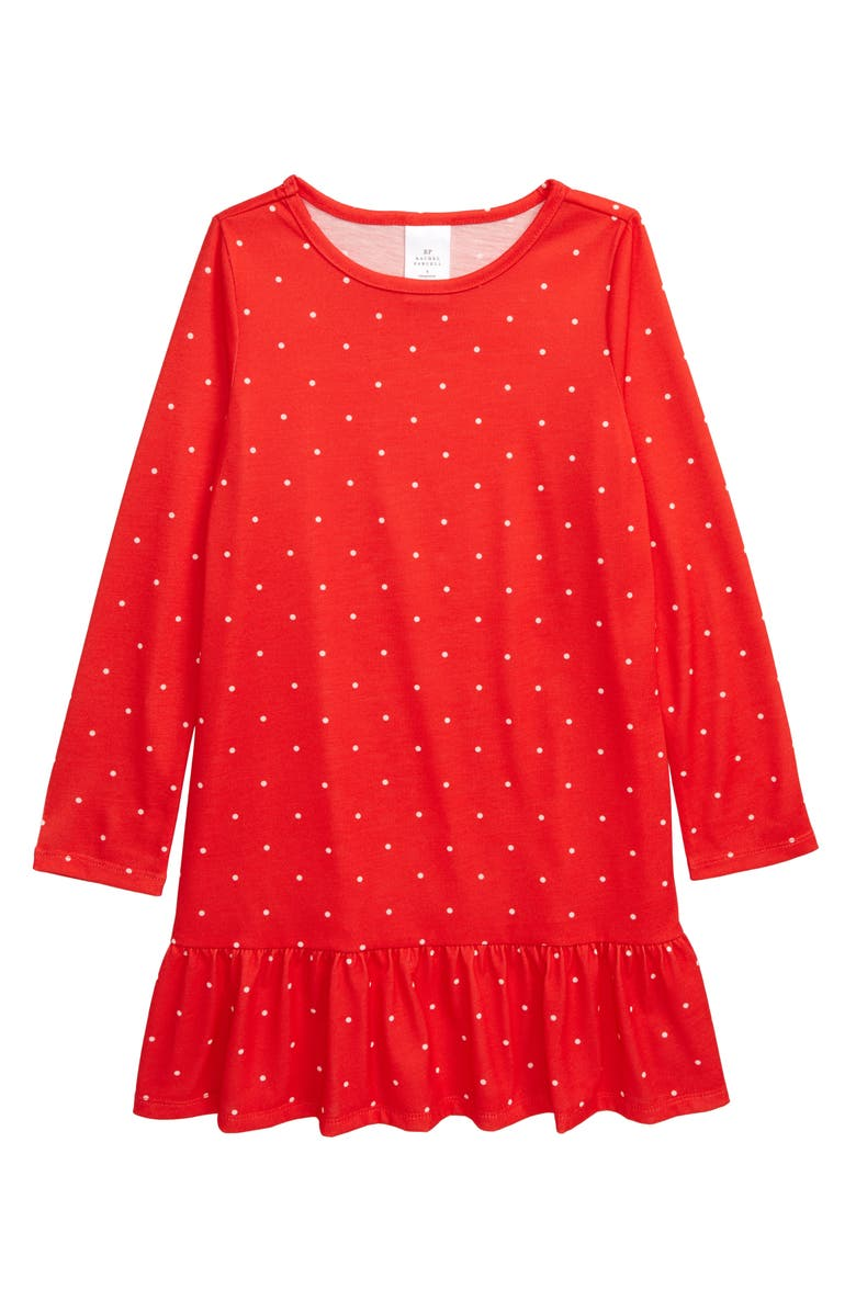 RACHEL PARCELL Ruffle Nightgown, Main, color, RED SCARLET DOT