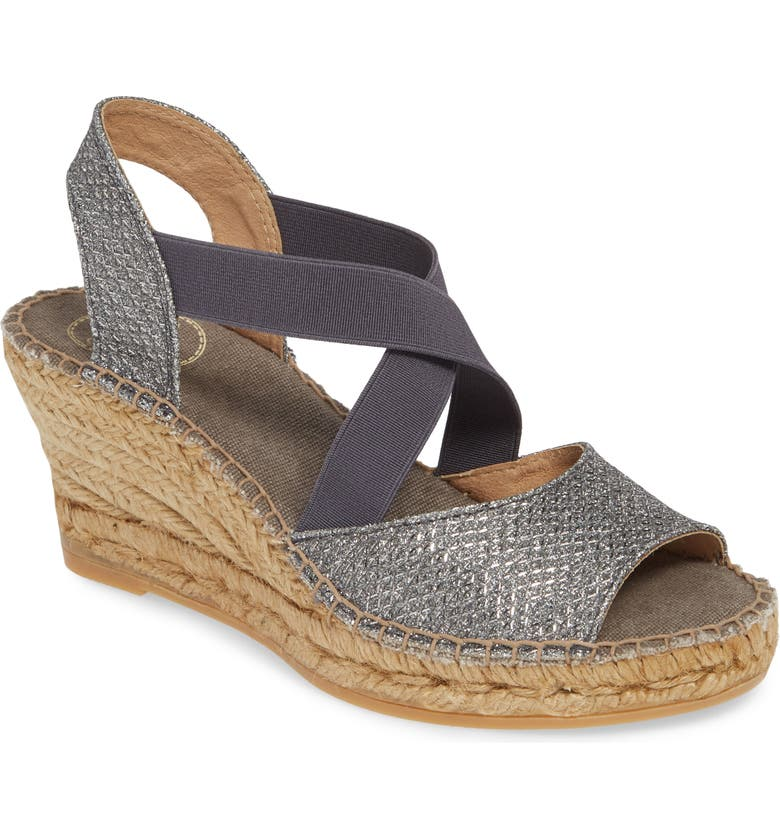 TONI PONS Sol Wedge Espadrille Sandal, Main, color, LEAD FABRIC