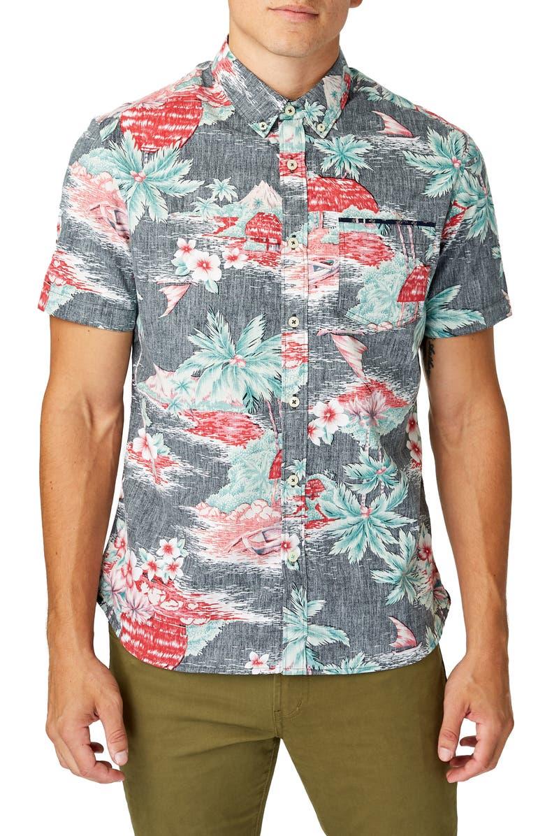 7 DIAMONDS The Hideaway Slim Fit Tropical Short Sleeve Button-Down Shirt, Main, color, BLACK
