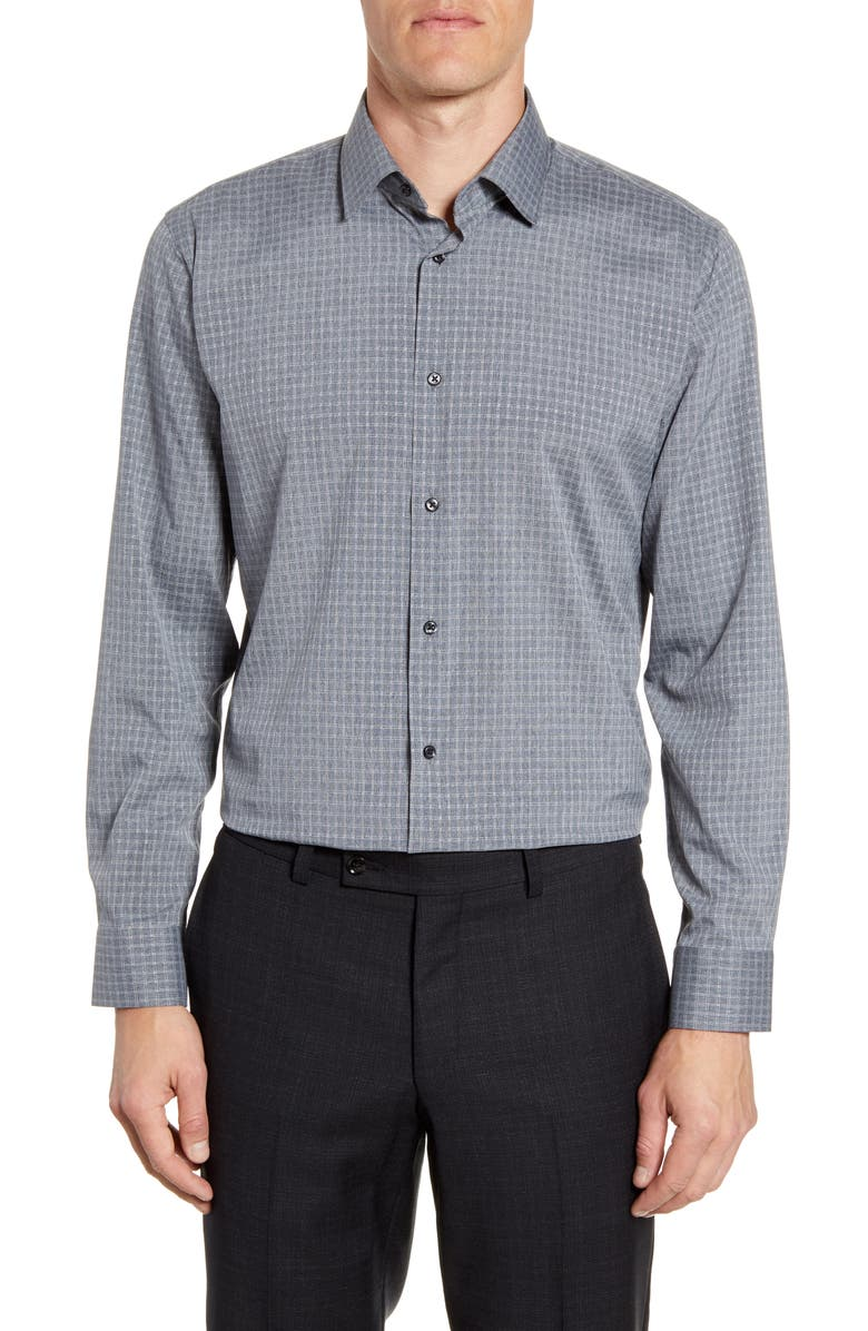 NORDSTROM MEN'S SHOP Tech-Smart Trim Fit Check Dress Shirt, Main, color, GREY SHADOW
