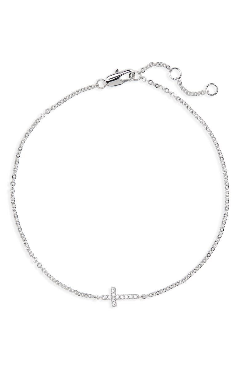NORDSTROM Tiny Cross Bracelet, Main, color, CLEAR- SILVER