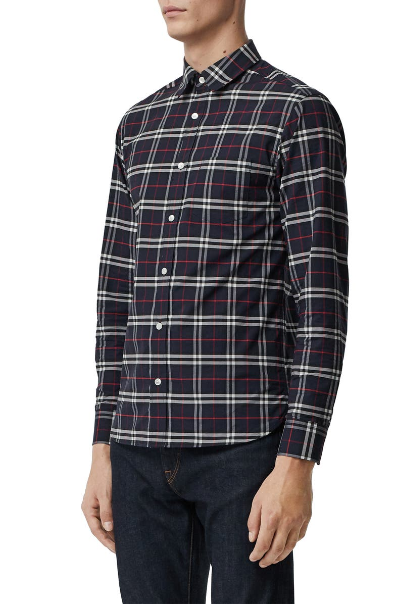 BURBERRY George Slim Fit Check Sport Shirt, Main, color, NAVY
