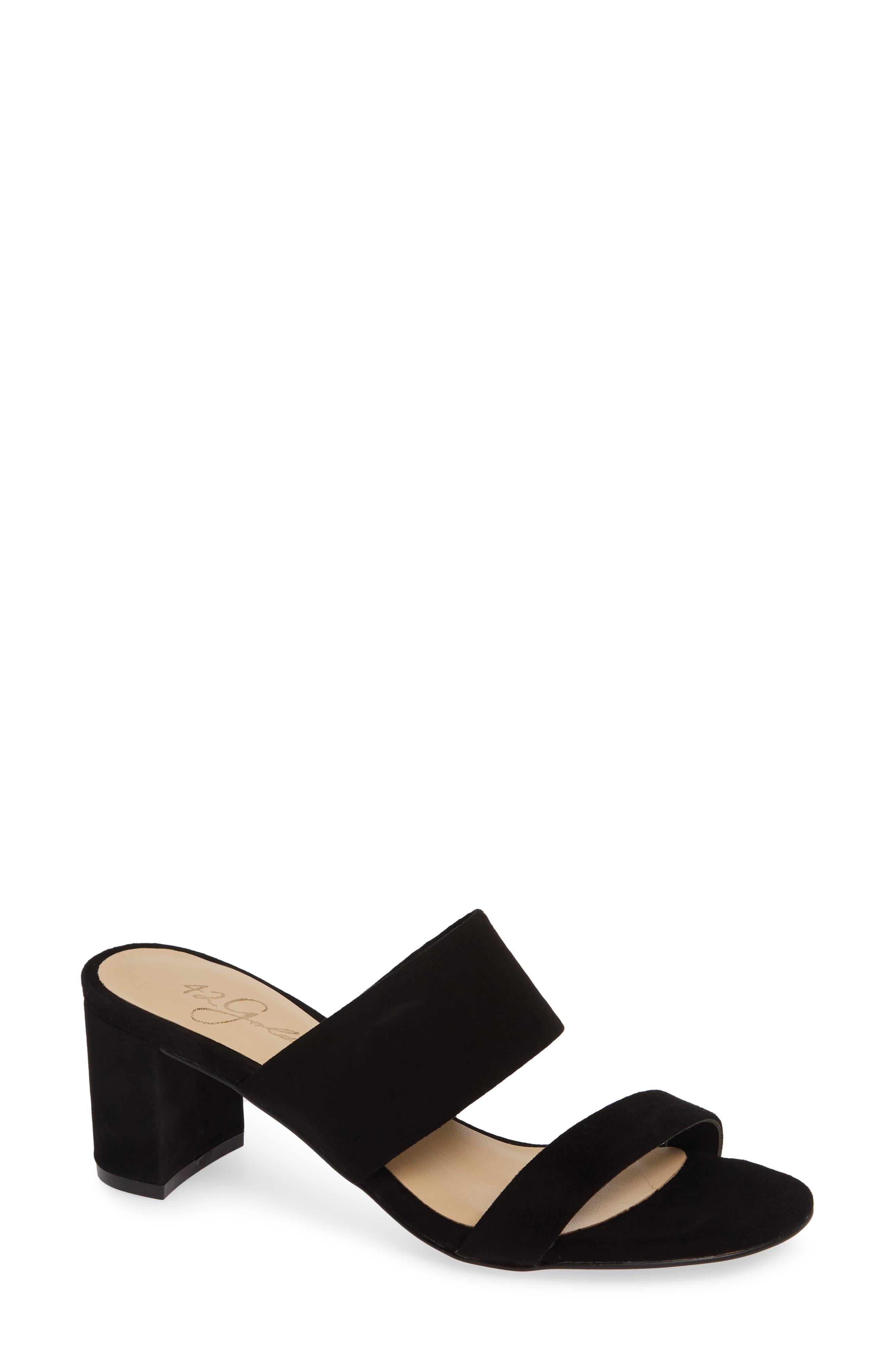 ,                             Liya Slide Sandal,                             Main thumbnail 1, color,                             BLACK SUEDE