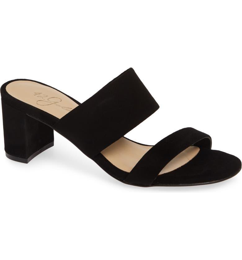 42 GOLD Liya Slide Sandal, Main, color, BLACK SUEDE