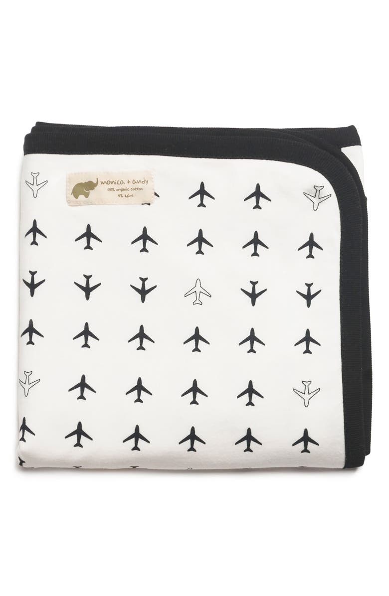 MONICA + ANDY 'Coming Home' Organic Cotton Blanket, Main, color, 001