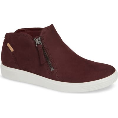 Ecco Soft 7 Mid Top Sneaker, Burgundy