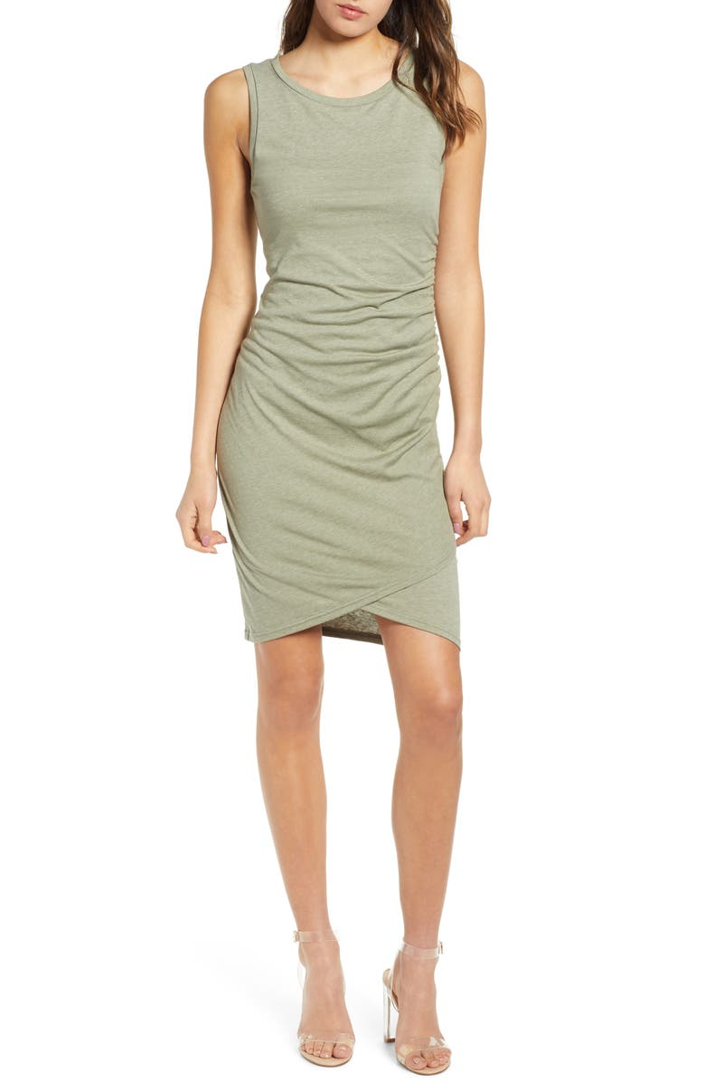 LEITH Ruched Body-Con Tank Dress, Main, color, GREEN VETIVER HEATHER
