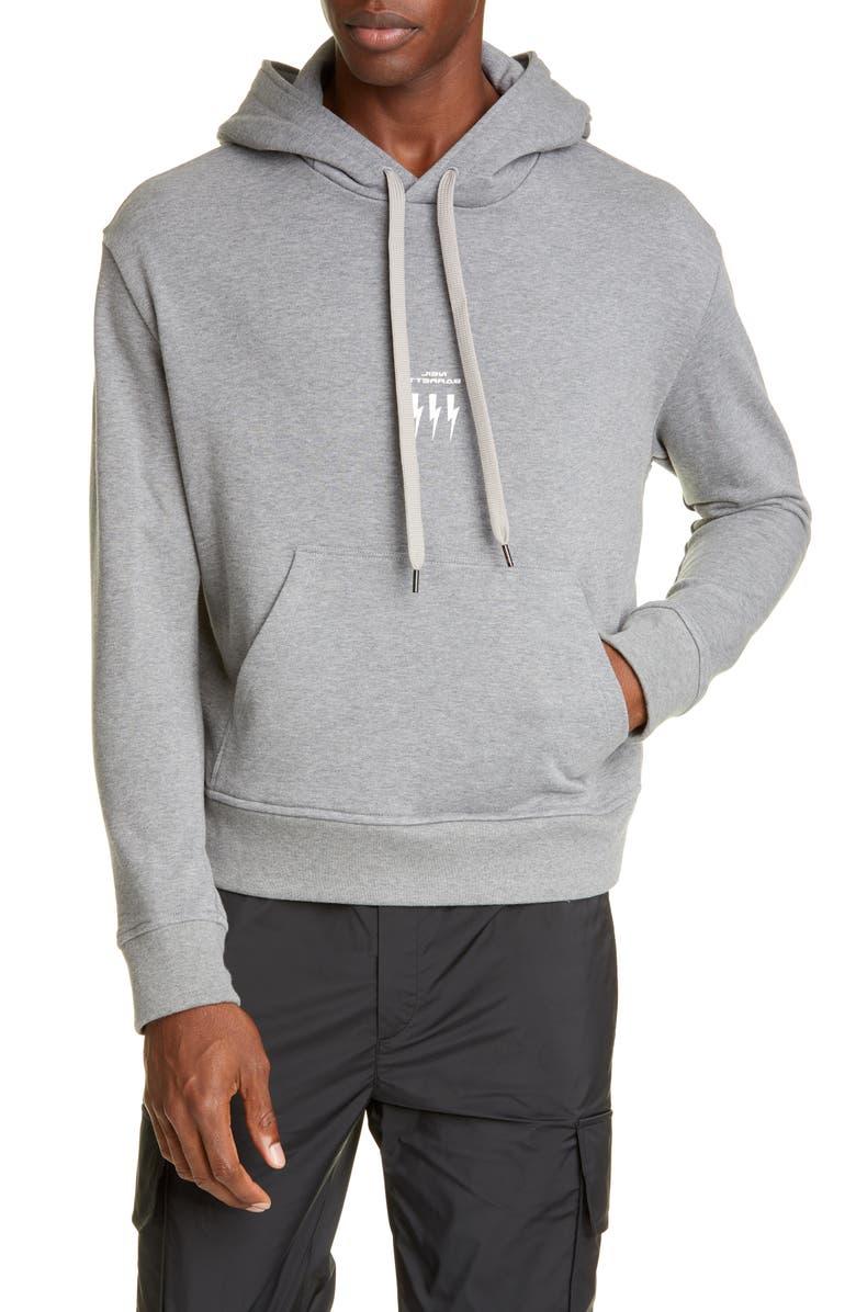 NEIL BARRETT Thunderbolt Hooded Sweatshirt, Main, color, SMOKE MELANGE