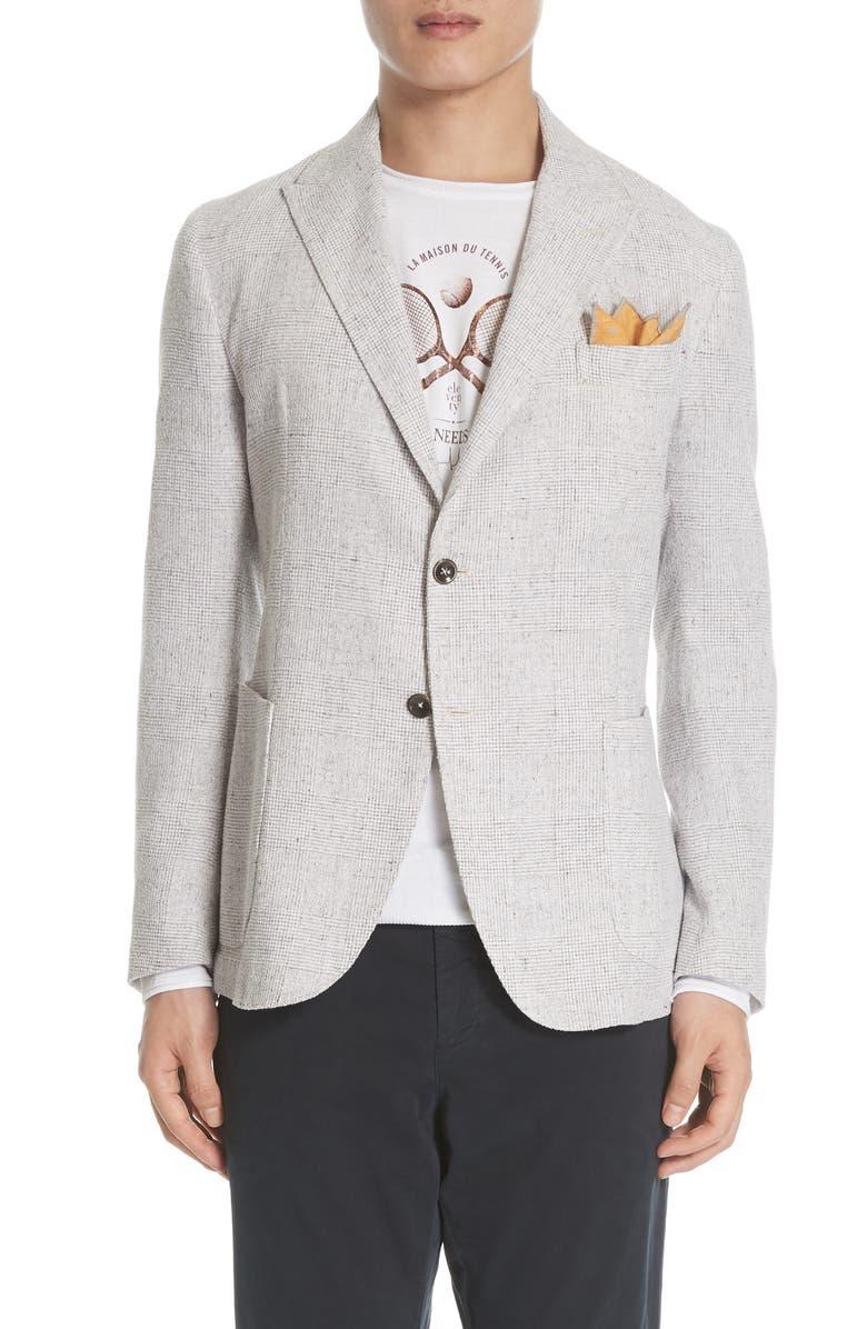 ELEVENTY Slim Fit Plaid Linen Blend Sport Coat, Main, color, 022