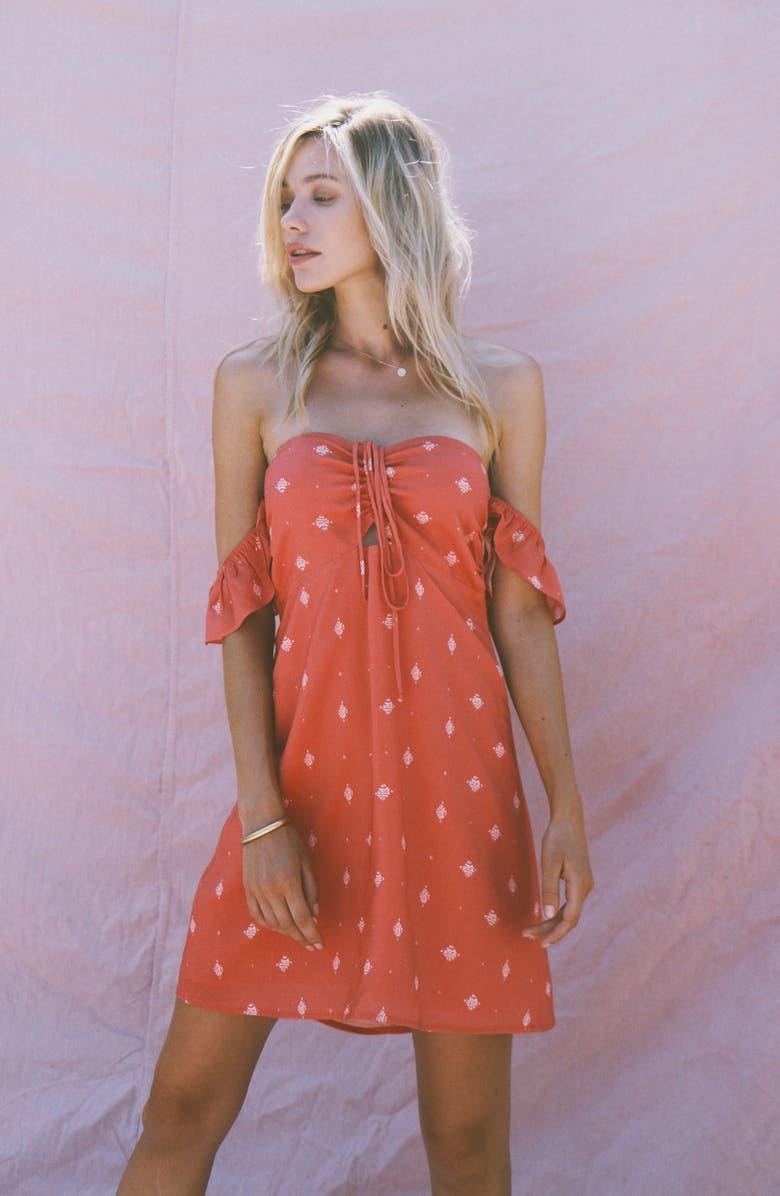 LIRA CLOTHING Leah Print Off the Shoulder Dress, Main, color, 600