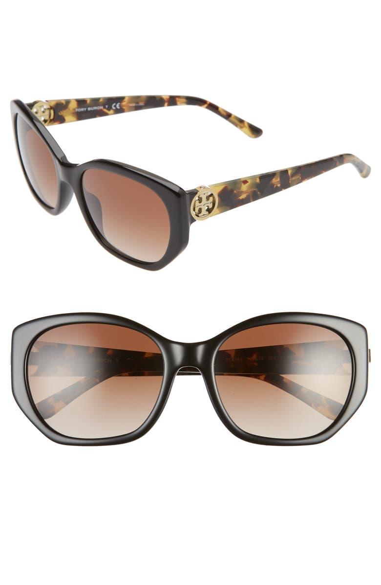 TORY BURCH 55mm Polarized Cat Eye Sunglasses, Main, color, 001