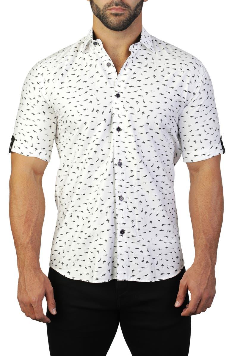 MACEOO Galileo Shark White Regular Fit Short Sleeve Shirt, Main, color, WHITE