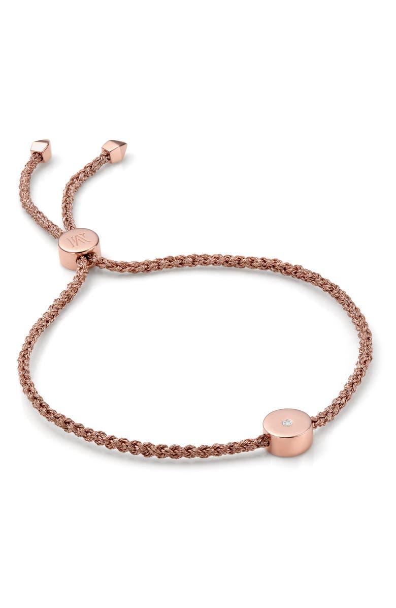 MONICA VINADER Linear Solo Diamond Friendship Bracelet, Main, color, ROSE GOLD/ METALLICA