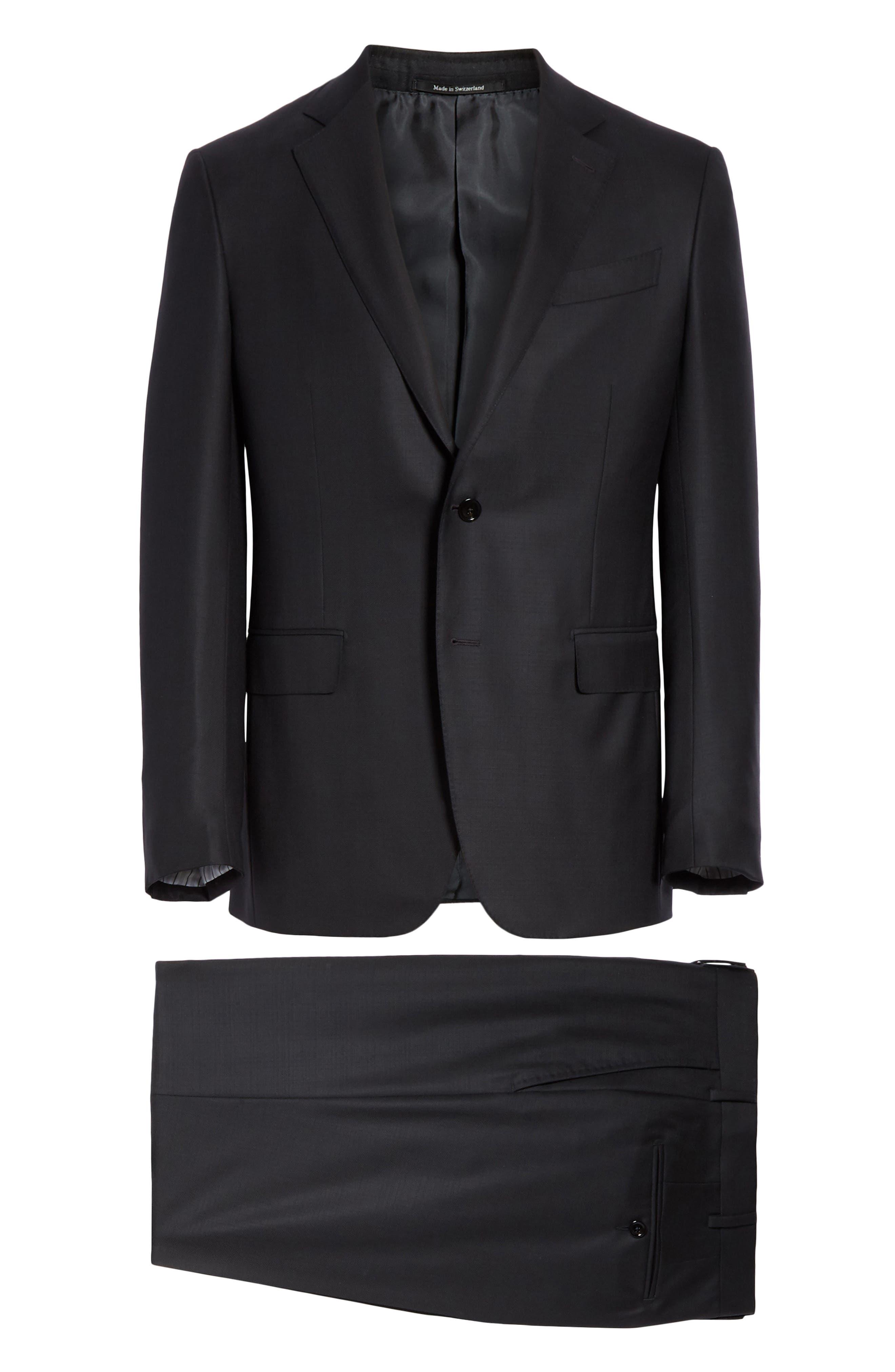 ,                             Classic Fit Plaid Wool Suit,                             Alternate thumbnail 8, color,                             BLACK