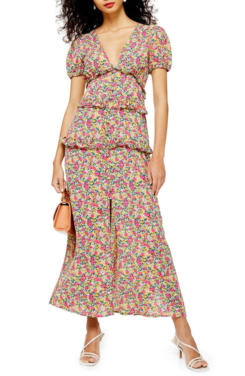 TOPSHOP Floral Print Dress, Main, color, PINK MULTI