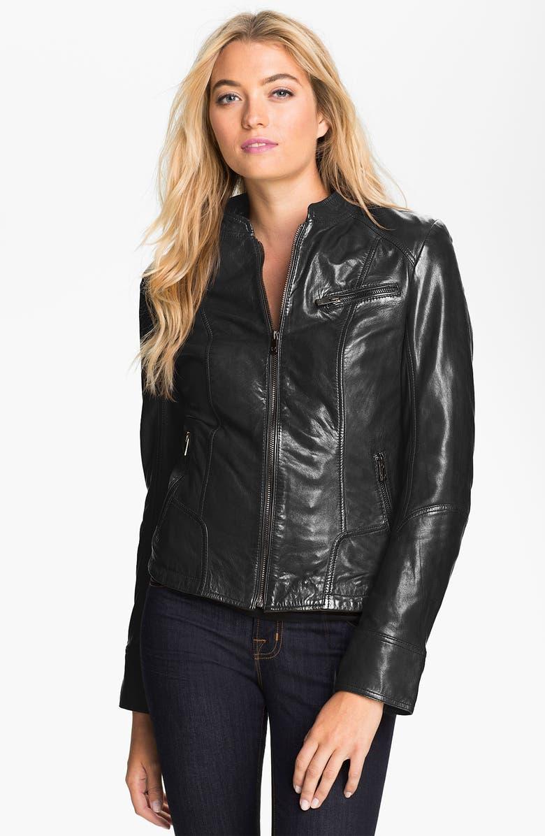 BOD & CHRISTENSEN Leather Jacket, Main, color, 001