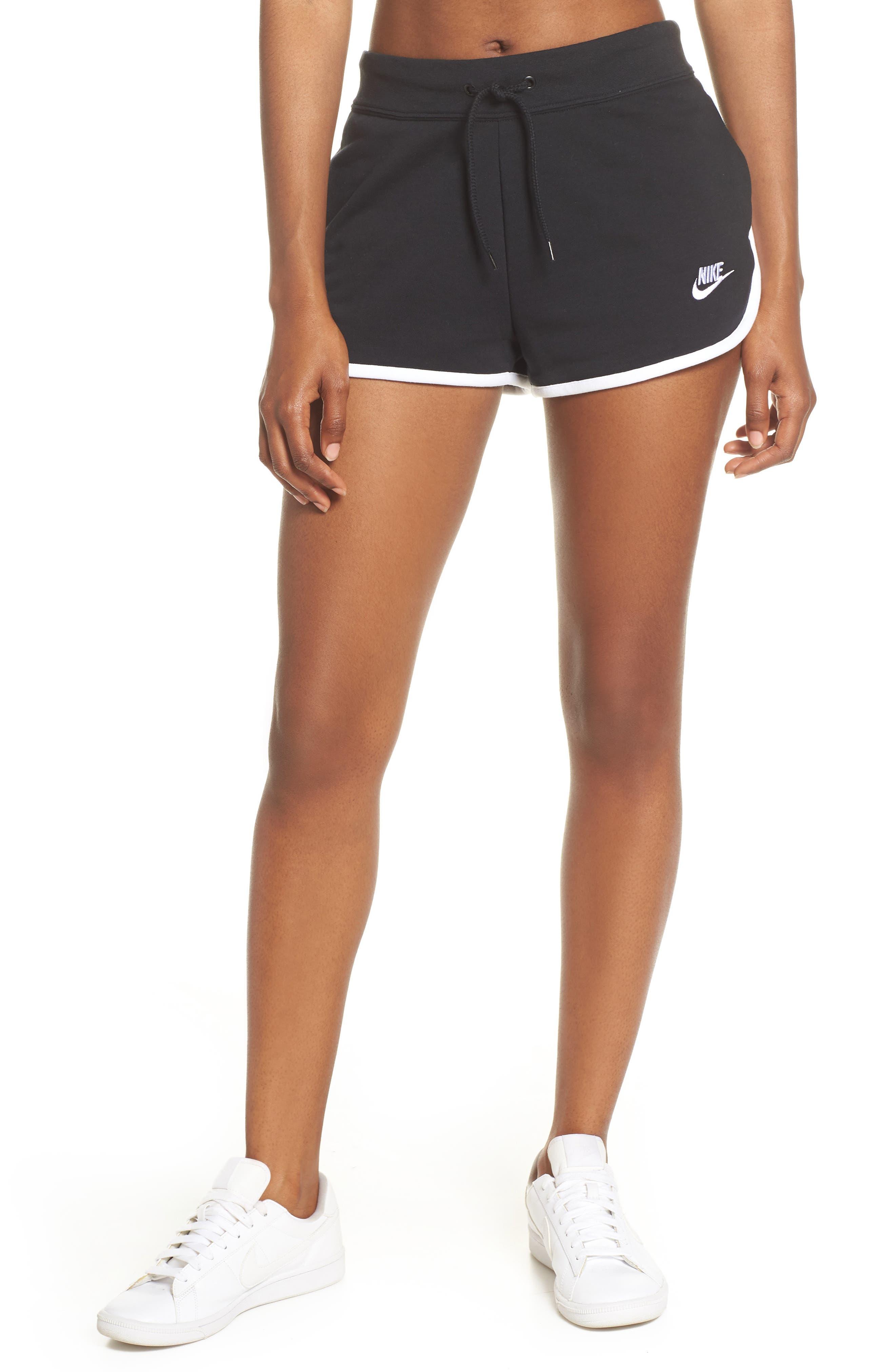,                             Sportswear Heritage Fleece Shorts,                             Main thumbnail 1, color,                             BLACK/ WHITE/ WHITE